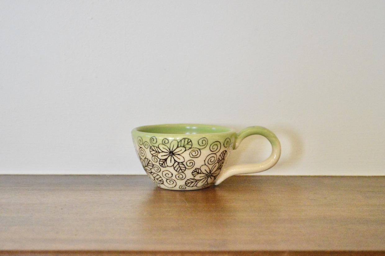 工房双子堂 マグカップ グリーン花模様 取手柄全3種