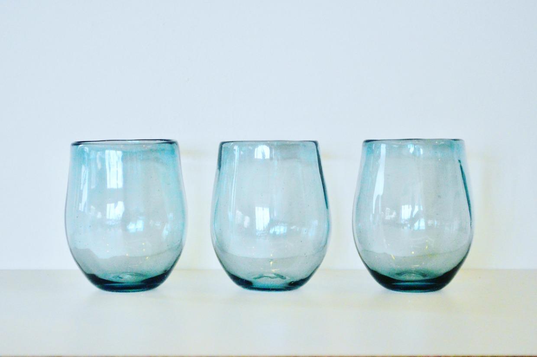 吹きガラス工房彩砂(るり) キャンドルグラス うす紺