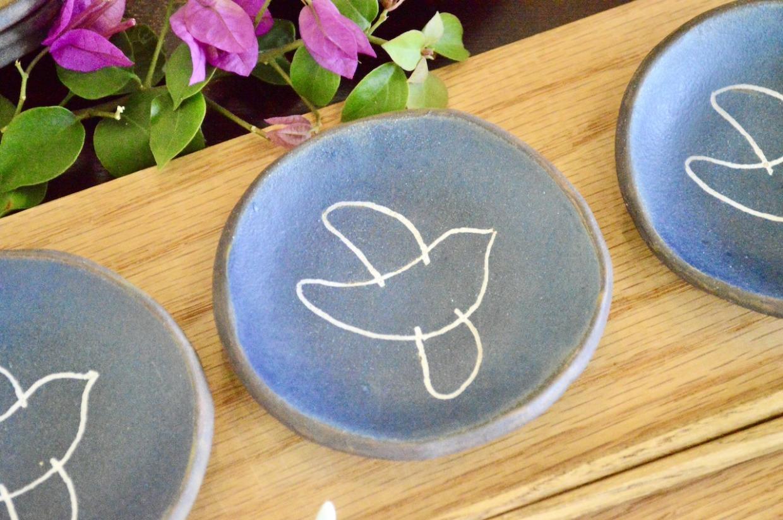 工房ことりの 豆皿(ことり柄・青)