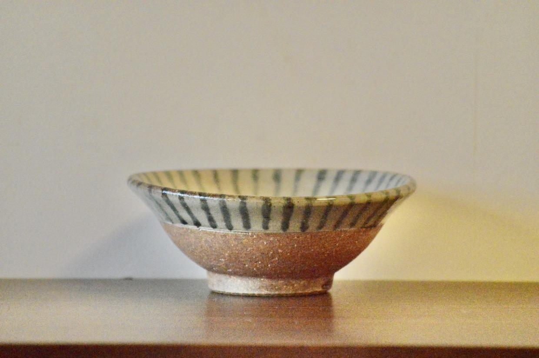 工房コキュ 4.5寸 皿鉢(青ストライプ)