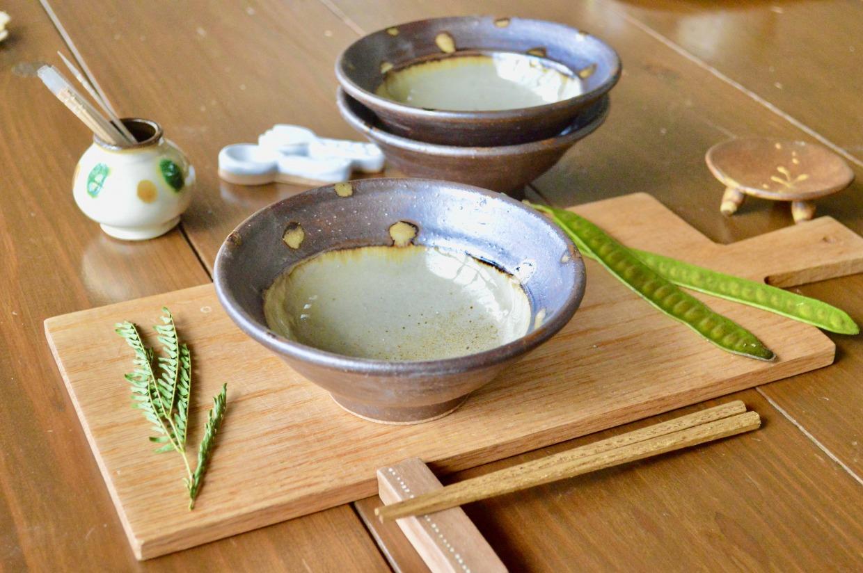 工房コキュ 4.5寸 皿鉢(水玉ツートン)