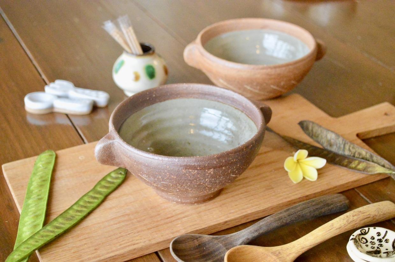 工房コキュ 取手付きスープ碗(こげ茶)